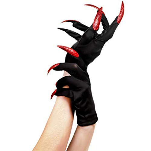 Paw Gloves Halloween Festival Party Costume Cosplay Props Long Nails Fingernails Clown Gloves Cat Claws Halloween Prop Devil Ghost Witch Finger Gloves Wolf Claw Gloves Role Play Dress up Gloves Claws