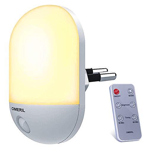 Luce Notturna Bambini, OMERIL Luce Notturna con Telecomando e Funzione Timer, Luce Notturna LED con...