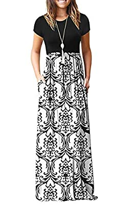 ♥【Soft Material】: 95% Rayon, 5% Spandex. Material is soft, flowy, lightweight, soft and stretchy, the print is vibrant ♥【Features】:Casual Style,Two Side Pockets,Short Sleeves,Round Neck,Floor Length,Elastic at Waist,Maxi Dresses.Stretchy,Soft and Com...