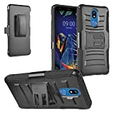 Z-GEN - for LG K40, Harmony 3, Xpression Plus 2 (2019) LM-X420, LG Solo LTE L423DL - Hybrid Armor Phone Case w/Stand/Belt Clip Holster + Tempered Glass Screen Protector - CV1 Black