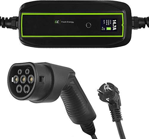 Green Cell® GC EV PowerCable Cargador Cable de Carga portátil | Cargando con 3.6kW | Enchufe Schuko de la UE al Tipo 2 | Pantalla LCD | IP66 | Compatible con Tesla Model 3/S/X,ZOE,i3,ID.3,I-Pace,Leaf
