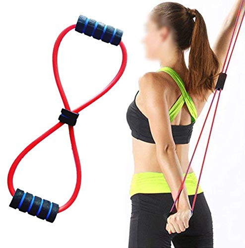 HMR TECH Yoga Chest Expander Latex Figure 8 Shape Yoga Fitness Workout Toning Resistance Tube Exercise Band for Unisex Made in India Random Color