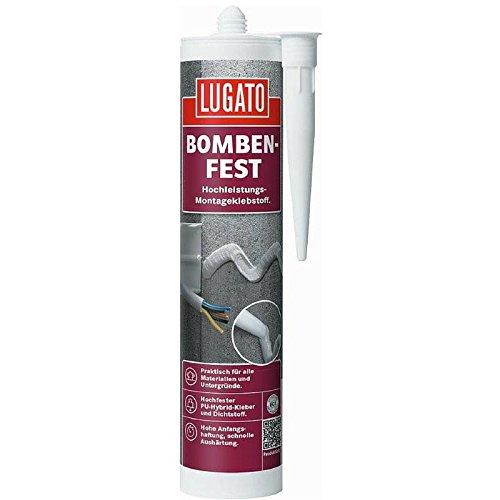 Lugato Bombenfest 480 g weiss - Wasserfester PU-Montagekleber für Metall, Kunststoff, Holz