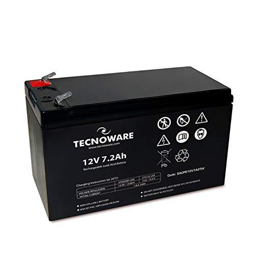Batería de plomo-ácido Tecnoware de 12 V - para SAI, videovigilancia y sistemas de alarma - Conexión Faston de 6,3 mm - Dimensiones 15,1 x 9,4 x 6,5 cm - Capacidad 7 Ah
