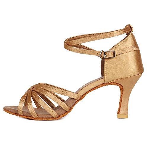 HROYL Zapatos de Baile Latino Mujer Salsa Tango Bachata Vals Zapatos de Baile de Salon,213-Beige-7, EU 38