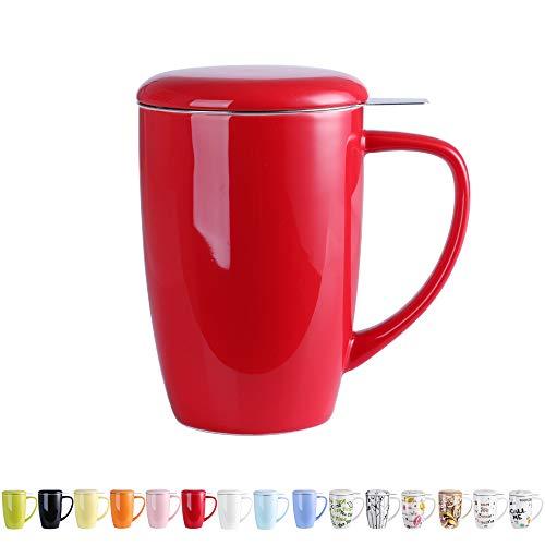LOVECASA Tazza da tè con Infusore Acciaio Inox in Ceramica Porcellana, Filtri e Colini da tè, Filtro Infusori per tè, Set da tè caffè Mugs per Una Persona, 450ml, Rosso