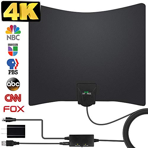 TV Antenna, 2020 Newest HDTV Indoor Digital Amplified TV Antennas 180 Miles Range with Amplifier TV Signals, HDTV Antenna for 4K Free Local Channels Support All TV's-17ft Coax Cable