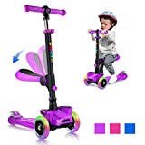 OUTON Kick Scooter for Kids with Removable/Folding Seat, 2 in 1 Scooter for Toddlers Kick Scooter for Girls & Boys, Adjustable Height, LED Light Up Wheels for Children Ages 2-13 Birthday Gift (Purple)