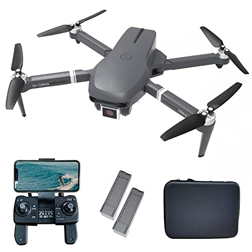 le-idea IDEA31 Drone Pieghevole con Camera 4K HD, Droni GPS 5GHz WiFi FPV, Drone Quadcopter RC con Telecamera professionale, Motore senza spazzole, 46 Minuti di Volo(2 Batterie), Modalit senza Testa