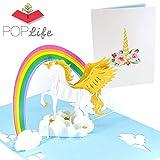 PopLife Cards Unicornio y arco iris popup tarjeta de felicitacin para todas las ocasiones da de las madres, hija feliz cumpleaos, hija regalo amantes de los animales, tema del arco iris, 3d