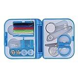 Elegante y completo hilo de coser aguja de tijera dedal Mini estuche de almacenamiento de plástico Kit de costura herramienta para uso en viajes en casa-Azul
