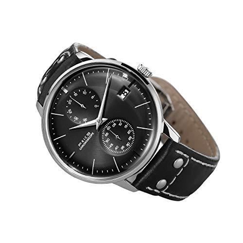 FEICE Herren Uhr Mechanisch Automatikwerk mit Gewölbtes Mineralglas Multifunktions Armbanduhren - FM212 (Schwarz)