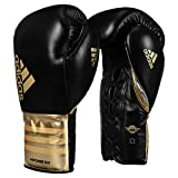 adidas Power Lace Sparring Gloves, Black/Gold, 16 oz