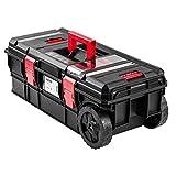 Robusto maletín de herramientas de plástico negro vacío, caja de herramientas con ruedas para taller