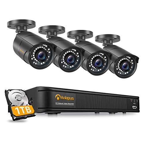 Anlapus 1080P Kit Videosorveglianza IP PoE 8CH H.265+ PoE NVR con 4x2MP Fotocamera Esterna 1TB HDD, 30m Visione Notturna, Rilevamento del Movimento, App Gratuita