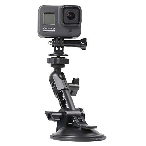 SUREWO Supporto a ventosa multi-angolo per GoPro Hero 8/7/6/5/4 nero/argento/bianco, DJI Osmo Action, Apeman/Campark/Crosstour/Akaso e la maggior parte delle action cam