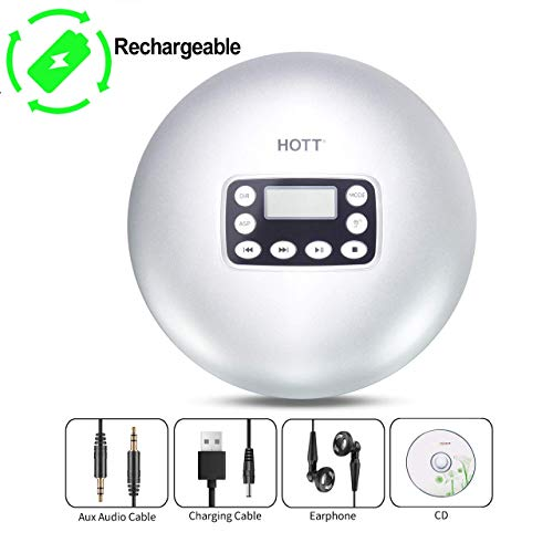 Rechargeable CD Player, HOTT Portable Personal Disc CD Player Walkman with Anti-Skip Anti-Shock Protection (Silver)
