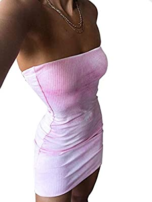95%Polyester5%Spandex,60%Cotton35%Polyester5%Spandex. Strapless rib tie dye dress/Stretchy bodycon fit/Metal ring at center front True to size,Model is wearing size S Every piece will be unique as each piece is tie dyed separately Easy care.