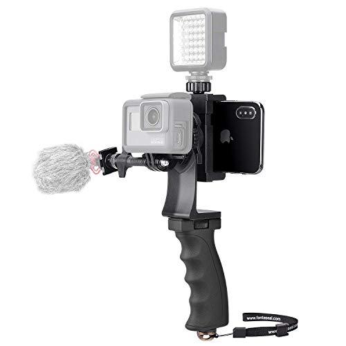 Kit video 2 in 1 pratico per Gopro e smartphone, stabilizzatore per fotocamera sportiva, maniglia telefono multifunzione per We-Media/Youtube/Livestream/Vlog compatibile con GoPro Sony DJI Osmo Action