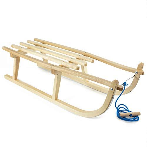 Holzfee Kinderschlitten Schlitten Davos S 90 cm mit Leine Buchenholz