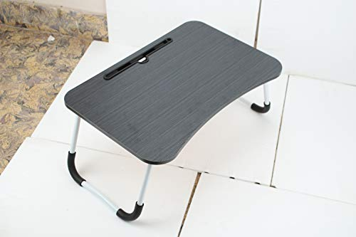 MemeHo Smart Multi-Purpose Laptop Table with Dock Stand/Study Table/Bed Table/Foldable and Portable/Ergonomic & Rounded Edges/Non-Slip Legs(Black)