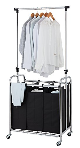 Finnhomy 3-Bag Rolling Laundry Sorter Cart with Hanging Bar,...