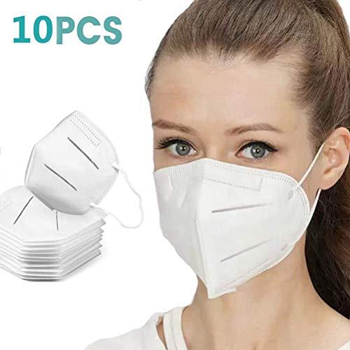 BBcoyer 10 X Anti Pollution Mask N95 Maschera, Particolato Piatto Fold Maschera Respiratore - con Cinturino Regolabile - Maschera Singolo