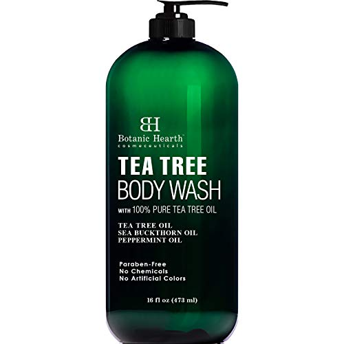 BOTANIC HEARTH Tea Tree Body Wash, Helps with Nails, Athletes Foot, Ringworms, Jock Itch, Acne, Eczema & Body Odor, Soothes Itching & Promotes Healthy Skin and Feet, Naturally Scented, 16 fl oz