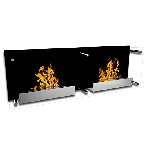 Double Nevada Biofireplace| Beautiful Large Wall Mounted Bioethanol Fire with glass | 2 Bioethanol Burners| Black Backplate