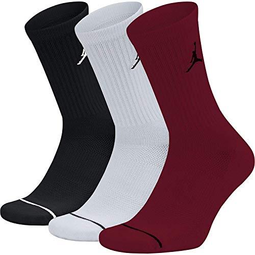 Nike CALZINI SX5545-011 JORDAN CALZE 3 PACK BLACKWHITERED MODA UOMO FASHION Taglia L
