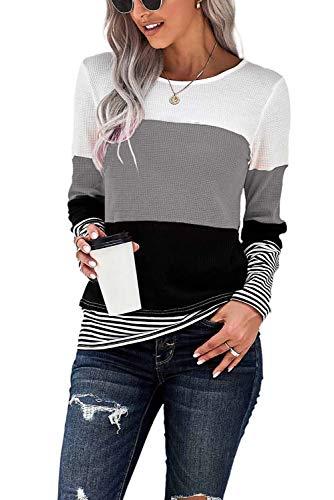 GOLDPKF Camiseta de manga larga para mujer, a rayas, cuello redondo, manga larga, jersey básico, ropa, A-gris, XXL