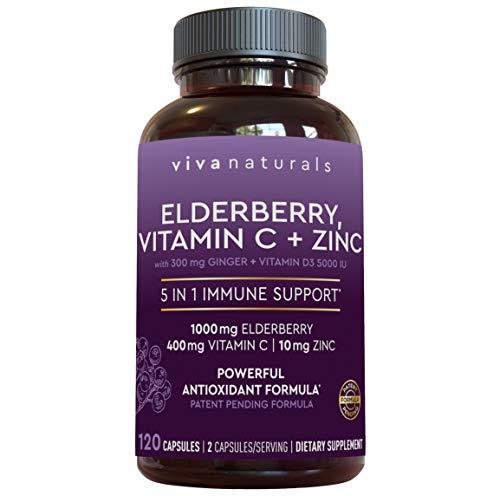 Viva Naturals Elderberry, Vitamin C, Zinc, Vitamin D 5000 IU...