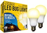 Un-Edison A19 LED Bug Light - Replaces 100W - Yellow Spectrum E26 Medium Outdoor Bulb for Porch Patio & Deck - Upgrade Your Old Painted Incandescent Bug Bulbs to Amber Glow 2-Pack