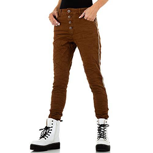 Ital-Design Damen Boyfriend Skinny Jeans Lexxury Jeans Gr. XL/42 Braun