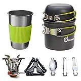 Odoland Kit de Casseroles Camping, 10PCS Ustensiles de Cuisine de Camping en Aluminium Durable,...