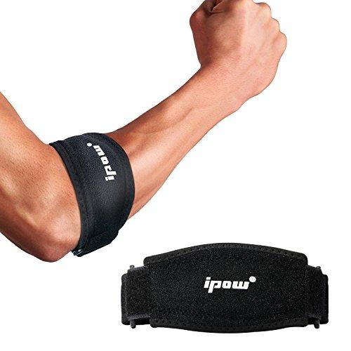 IPOW [2er Pack] Ellenbogenbandagen mit Kompressionskissen für Unterstützung und Schmerzlinderung, Tennisarm Golferarm Manschette Bandage Unisex einstellbar für Damen und Herren