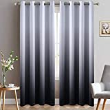 Yakamok Room Darkening Black Gradient Color Ombre Blackout Curtains with Grommet Thickening...