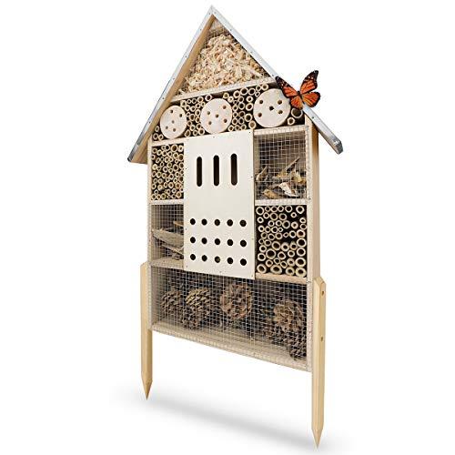 WILDLIFE FRIEND | Insektenhotel XL, 76cm mit Standfuß & Metalldach - Unbehandelt, Insektenhaus für Bienen, Marienkäfer & Schmetterlinge, Bienenhotel & Nisthilfe zum Aufhängen oder Aufstellen
