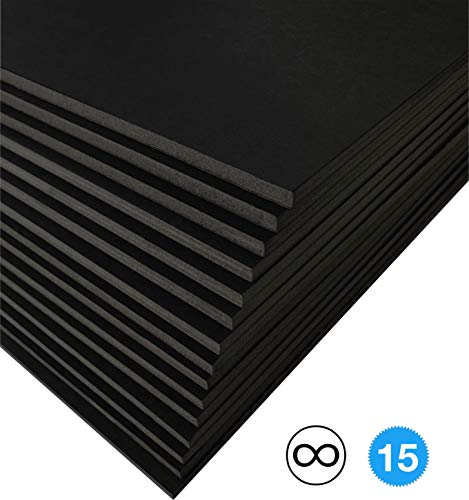Excelsis Design, Pack of 15, Foam Boards (Acid-Free), 20x30 Inches (Many Sizes Available), 3/16 Inch Thick Mat, Black with Black Core (Foam Core Backing Boards, Double-Sided Sheets)