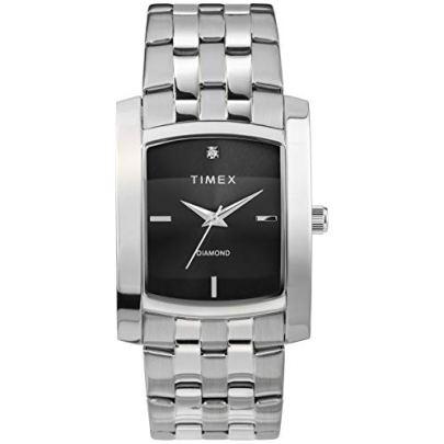 Timex Men's Dress Analog 33mm Stainless Steel Bracelet Watch with Genuine Diamond, Silver-Tone/Black