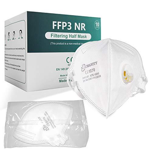 Maschere respiratorie FFP3 AOSANITY con valvola dell'aria - Sistema multistrato certificato EN 149: 2001 + A1: 2009 con elevata capacità di filtrazione, comfort e sicurezza extra (confezione da 10)