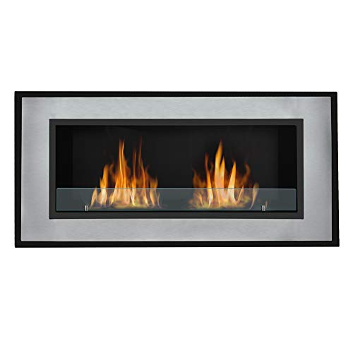 Wall Mounted Recessed Bio Ethanol Fireplace Dual Burner Ventless Space Heater Built in Wall Gas Fireplaces, Smokeless and Thermostability, 120CM