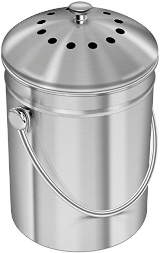 Utopia Mutfak Mutfak Tezgahı için Paslanmaz Çelik Kompost Kutusu - Kapaklı Mutfak için 1.3 Galon Kompost Kovası - 1 Yedek Kömür Filtresi içerir