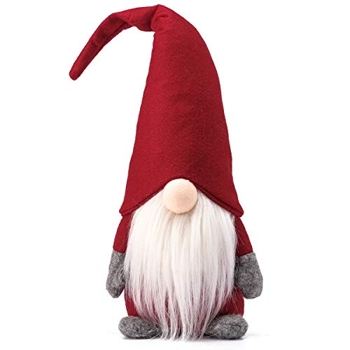Funoasis Holiday Gnome Handmade Swedish Tomte, Christmas Elf Decoration Ornaments Thanks Giving Day Gifts Swedish Gnomes tomte 16 Inches/Red