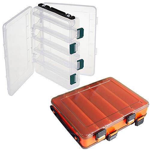 2pcs Scatola da Pesca, Trasparente e Arancione Cassetta da Pesca con Maniglia, 10 Scomparti Scatole di Plastica da Pesca a Doppia Faccia per Esche Artificiali, Kit Accessori da Pesca(20 * 17 * 4.5cm)