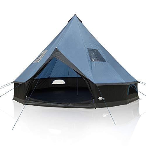 your GEAR Tente Ravello 500, Tipi pour 6-8 Personnes Tente familiale Hauteur Libre Sol Cousu étanche 5000 mm Bleu Gris