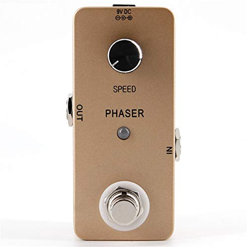 OUY Guitar Effect Pedals Zinc Alloy Case Vintage Phaser Guitar Effect Pedal True Bypass Golden Pedal Multi-effects Processor (Color : Golden, Size : Free size)