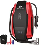 H Helteko Air Compressor Tire Inflator DC 12V, Portable Car Tire Pump w/Emergency LED Light, Long Power Cord, Auto Shut Off, Carrying Case, Electric Air Pump for Car Tire Bicycle and Other Inflatables