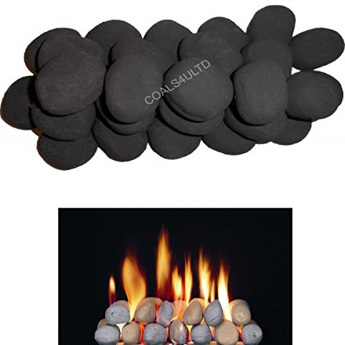 ! 20 Gas fire Ceramic Pebbles Replacements/Bio Fuels/Ceramic (BLACK) IN COALS 4 YOU PACKING