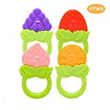 SHare&Care BPA Free Silicone Baby Training Massaging Toy Teether, Different Fruit Designs for 3 Months Above Infant Sore Gums Pain Relief and Healthy Oral Development, 4Pcs/Set (Circular Handle)